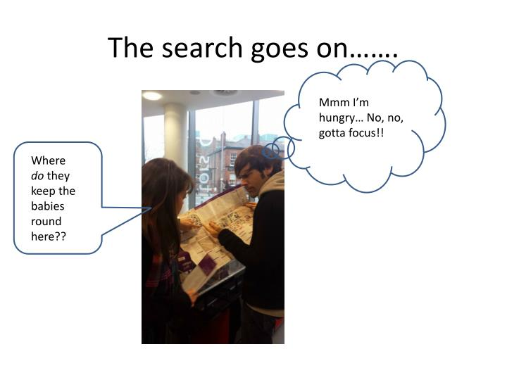 The search goes on…….