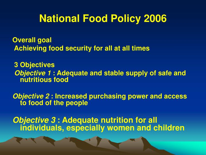 National Food Policy 2006