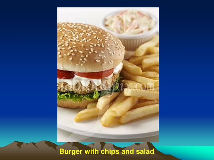 Burger with chips and salad
