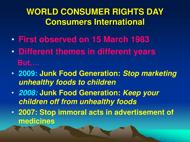 World consumer rights day consumers international