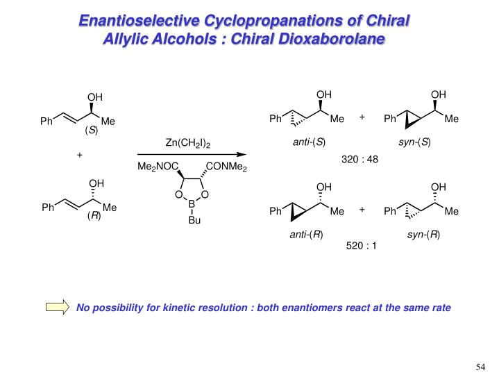Enantioselective Cyclopropanations of Chiral Allylic Alcohols : Chiral Dioxaborolane