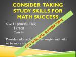 consider taking study skills for math success