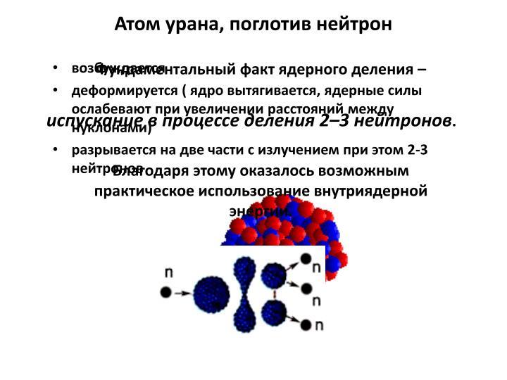Атом урана, поглотив нейтрон