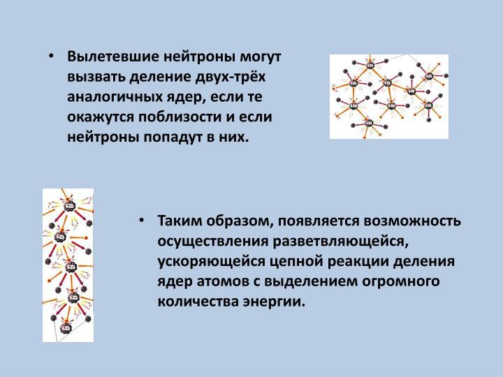 Вылетевшие нейтроны могут вызвать деление двух-трёх аналогичных ядер, если те окажутся поблизости и если нейтроны попадут в них.