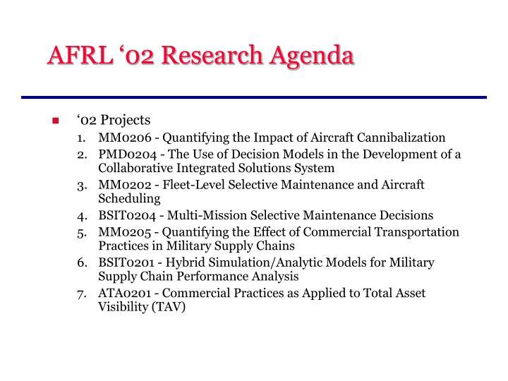 AFRL '02 Research Agenda