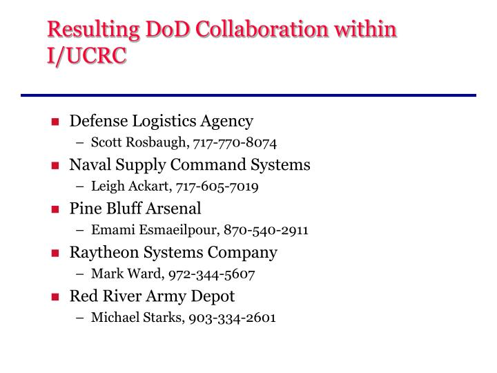 Resulting DoD Collaboration within I/UCRC