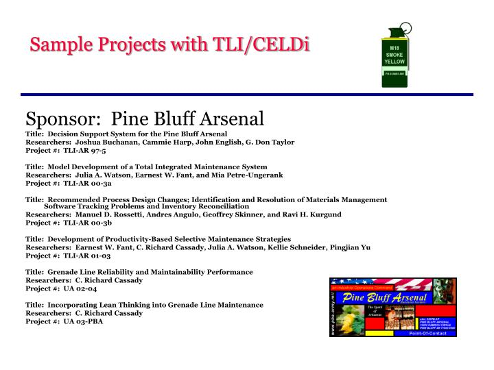 Sample Projects with TLI/CELDi