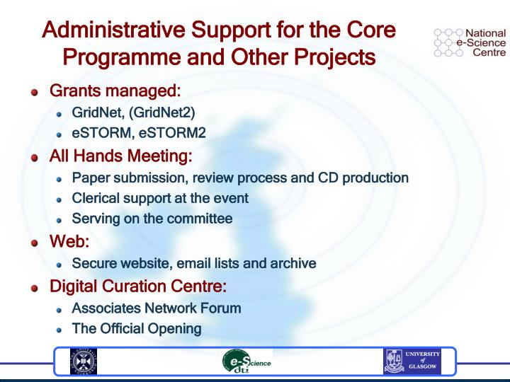 Administrative Support for the Core Programme and Other Projects