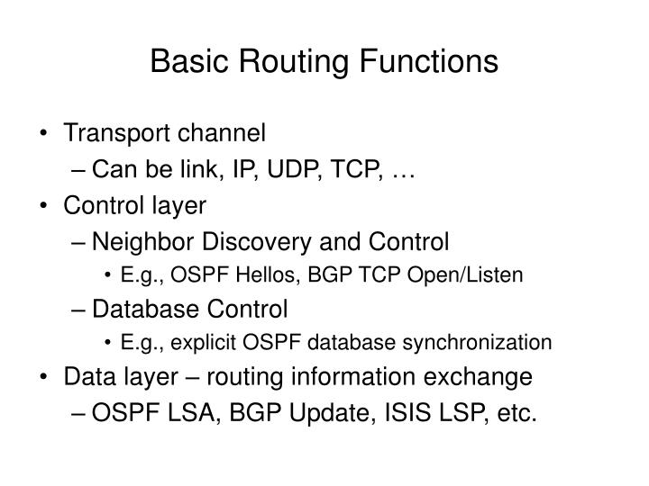 Basic Routing Functions