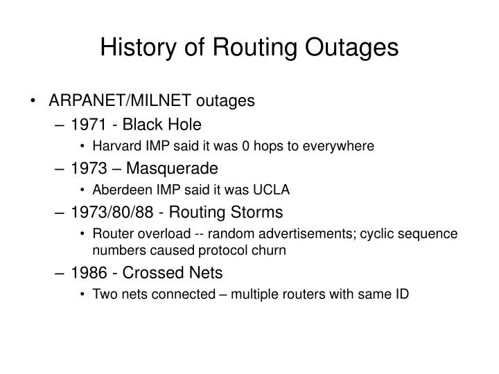 History of routing outages
