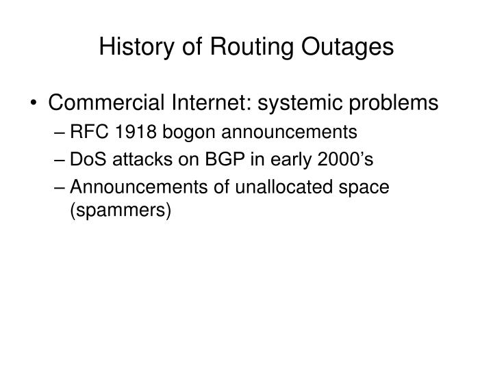 History of routing outages1
