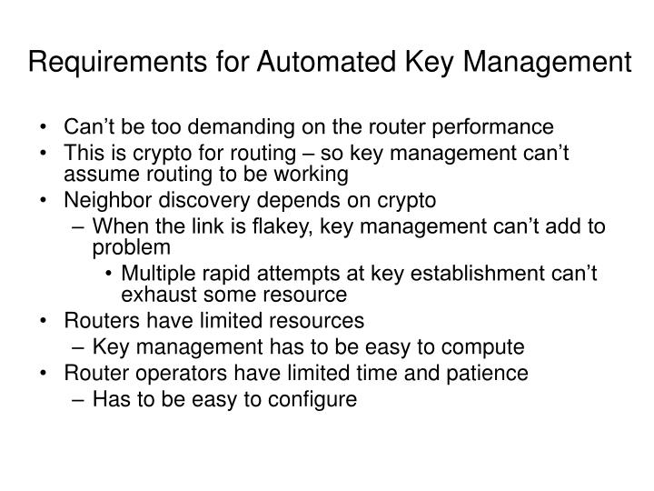 Requirements for Automated Key Management