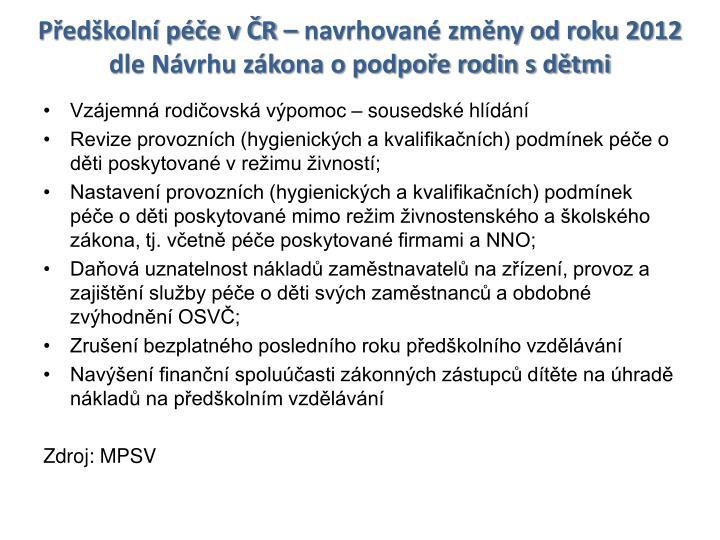 Předškolní péče v ČR – navrhované změny od roku 2012