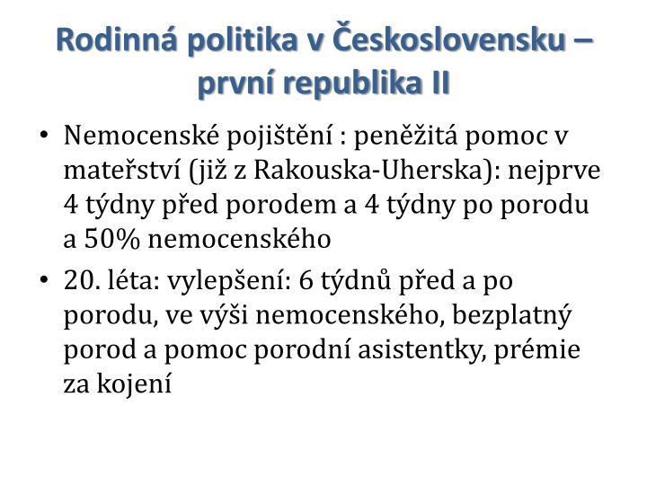 Rodinná politika v Československu – první republika