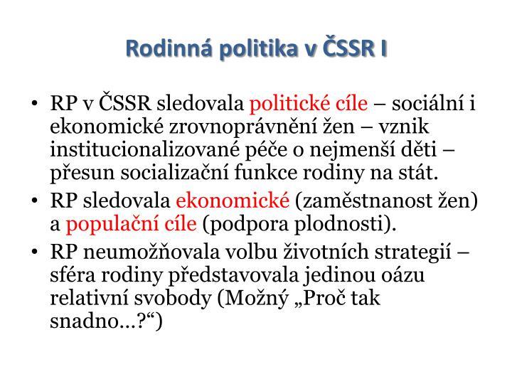 Rodinná politika v ČSSR I