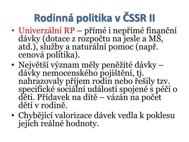 Rodinná politika v ČSSR