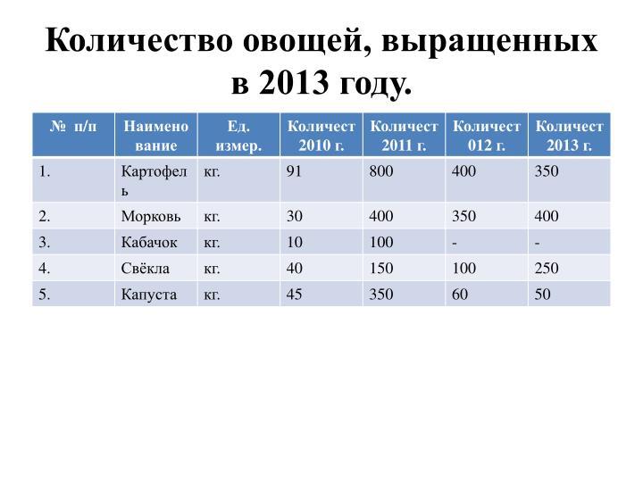 Количество овощей, выращенных в 2013 году.