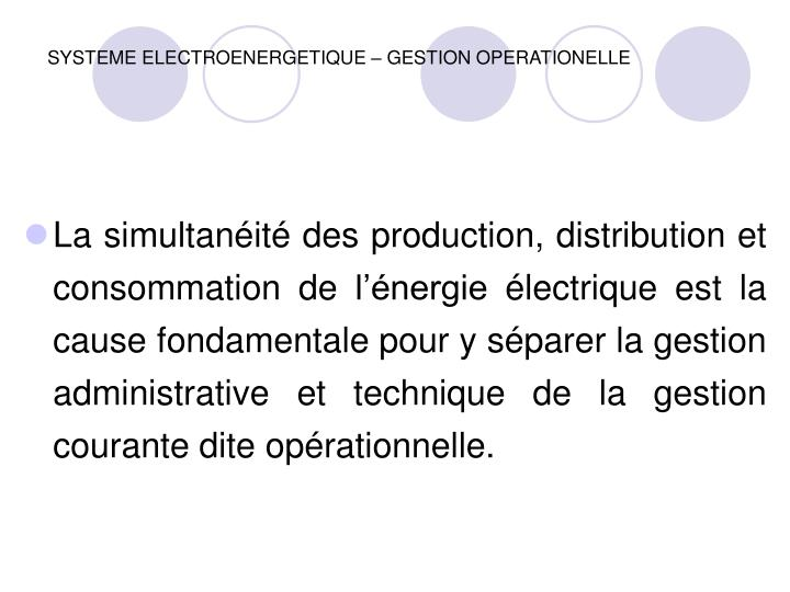Systeme electroenergetique gestion operationelle