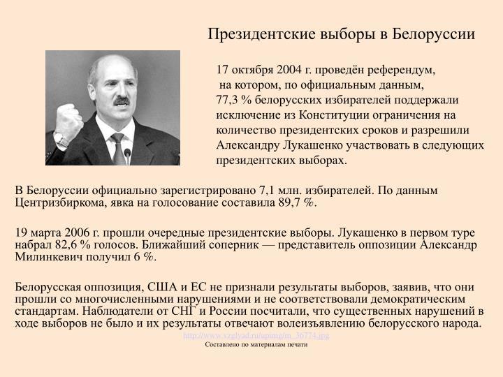 Президентские выборы в Белоруссии