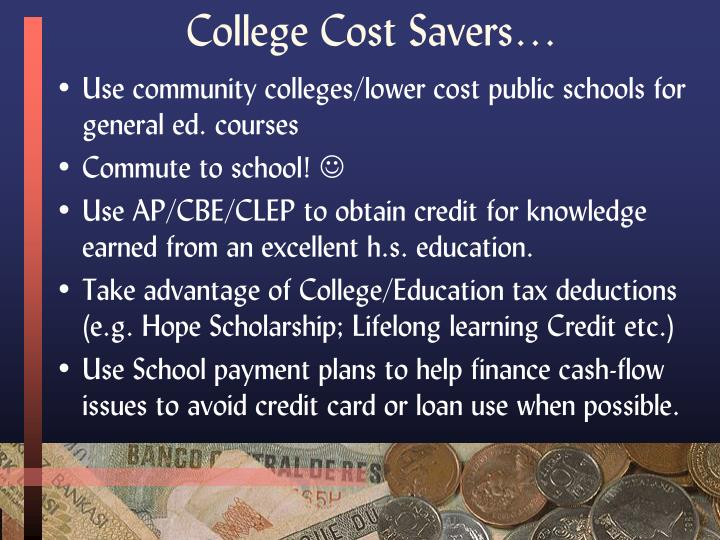 College Cost Savers…