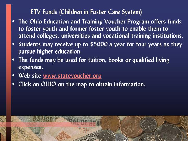 ETV Funds (Children in Foster Care System)