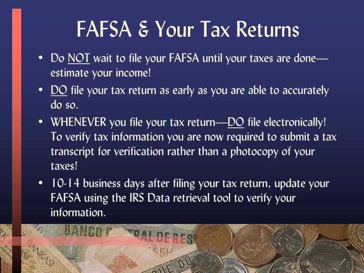 FAFSA & Your Tax Returns