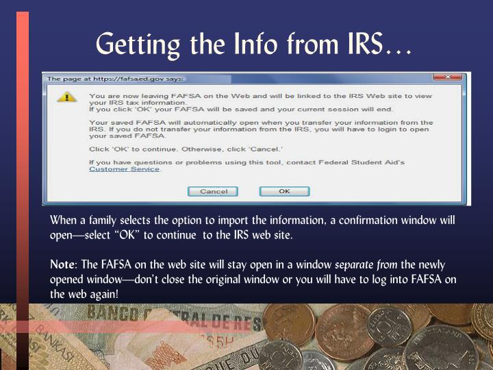 Getting the Info from IRS…