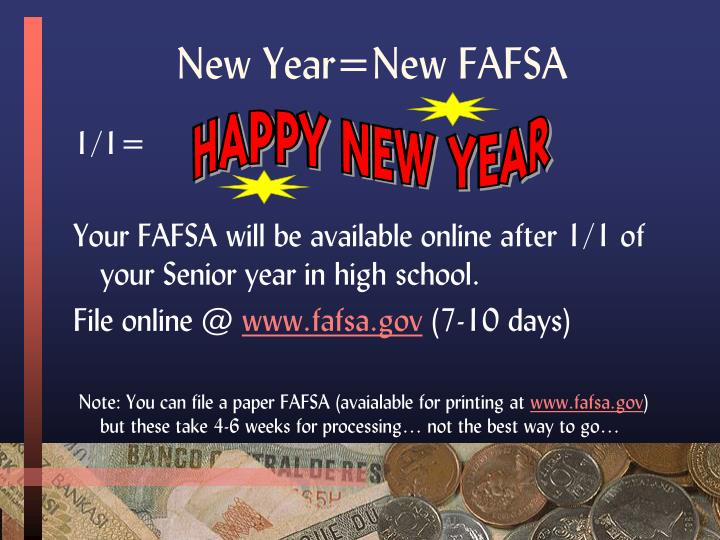 New Year=New FAFSA