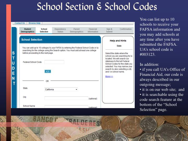 School Section & School Codes