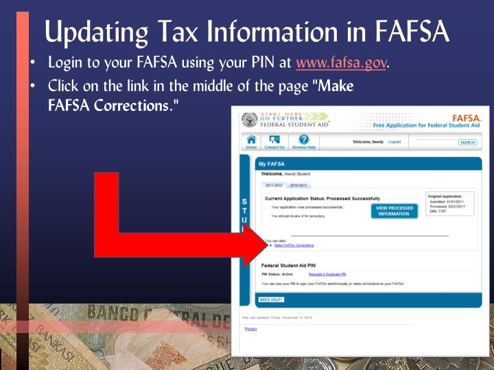 Updating Tax Information in FAFSA