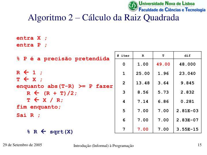 Algoritmo 2 – Cálculo da Raiz Quadrada
