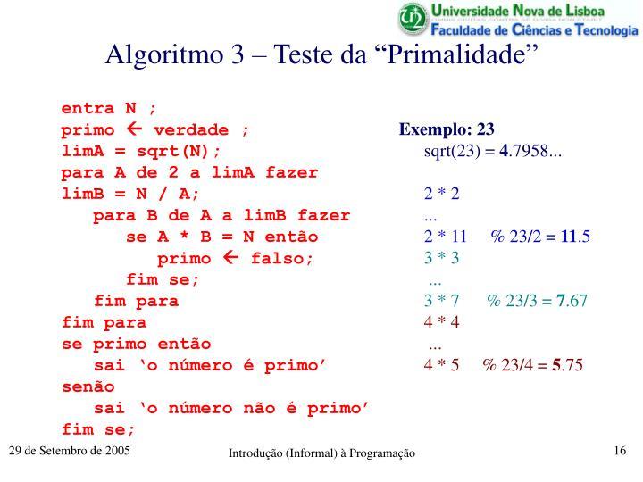 "Algoritmo 3 – Teste da ""Primalidade"""