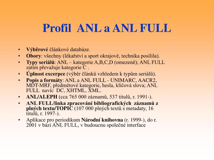 Profil  ANL a ANL FULL