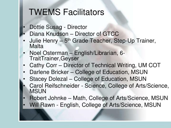 TWEMS Facilitators
