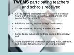 twems participating teachers and schools received