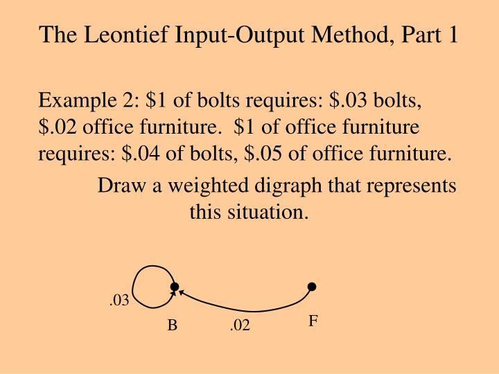 The Leontief Input-Output Method, Part 1