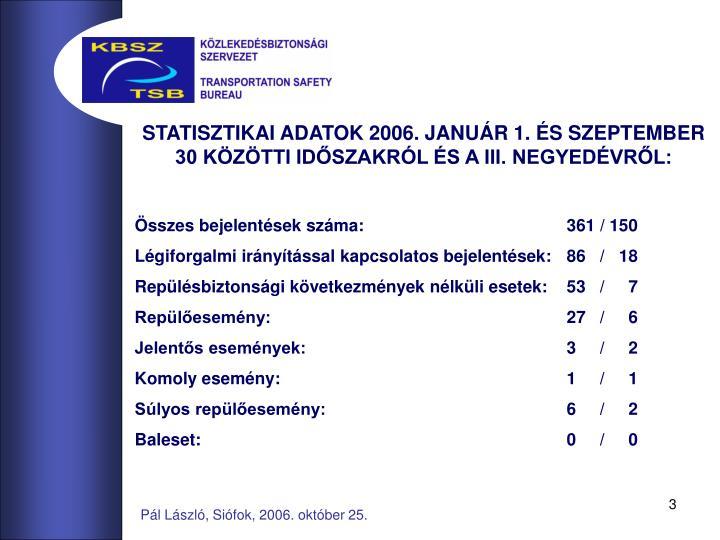 STATISZTIKAI ADATOK 2006. JANUÁR 1. ÉS SZEPTEMBER 30 KÖZÖTTI IDŐSZAKRÓL ÉS A III. NEGYEDÉVRŐL: