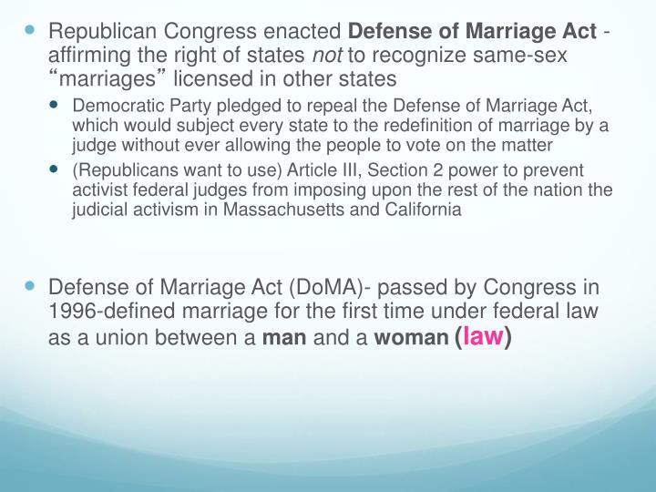 Republican Congress enacted