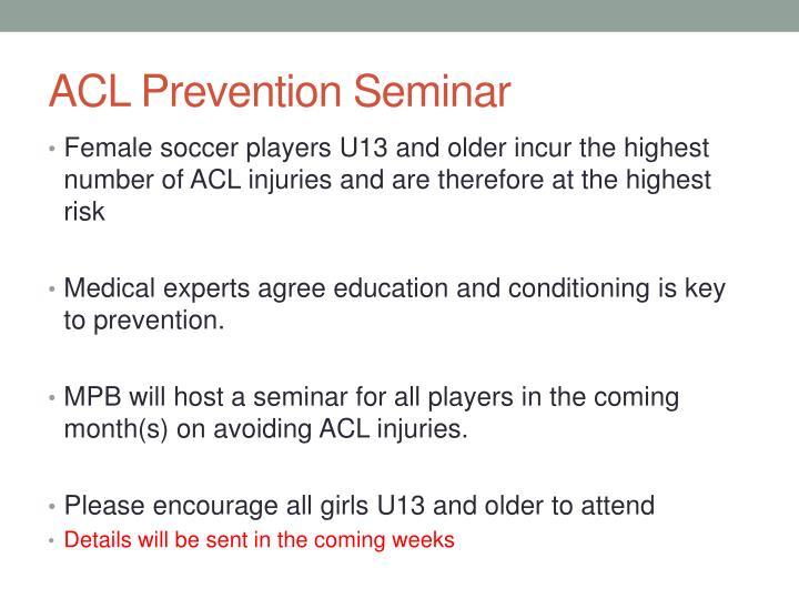 ACL Prevention Seminar