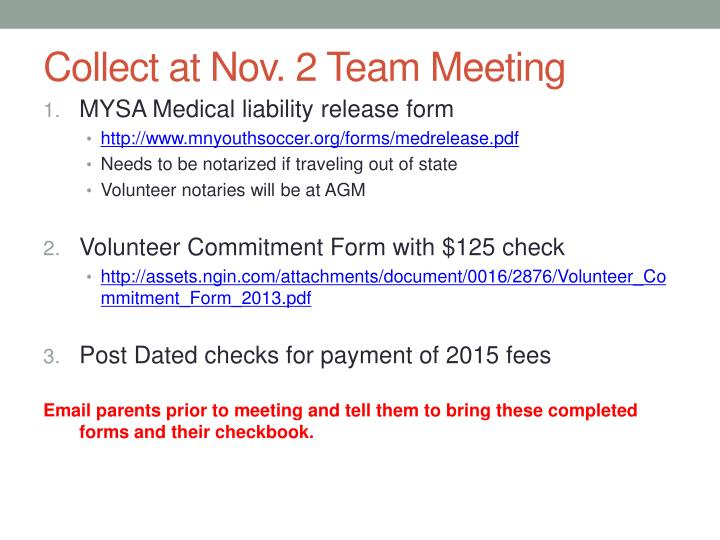 Collect at Nov. 2 Team Meeting