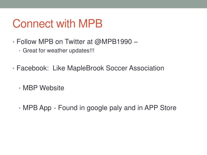 Connect with MPB