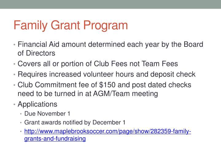 Family Grant Program