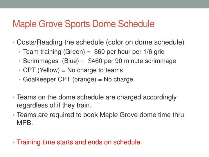 Maple Grove Sports Dome Schedule