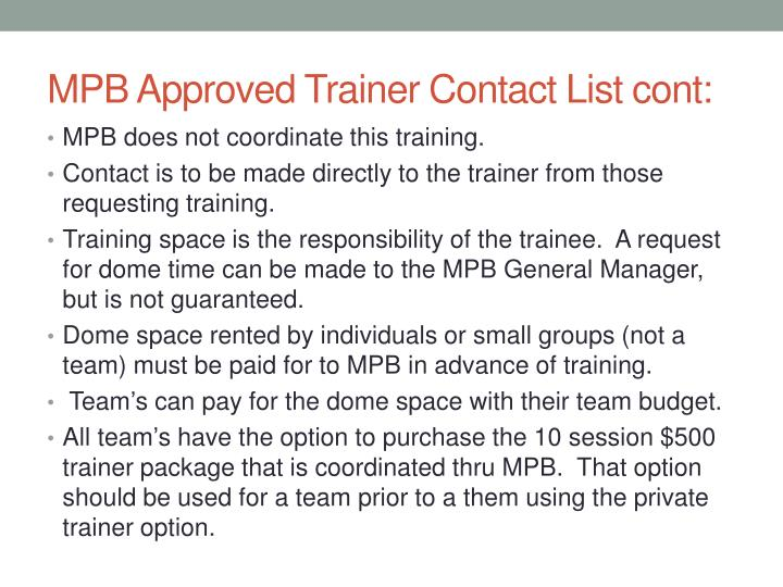 MPB Approved Trainer Contact List