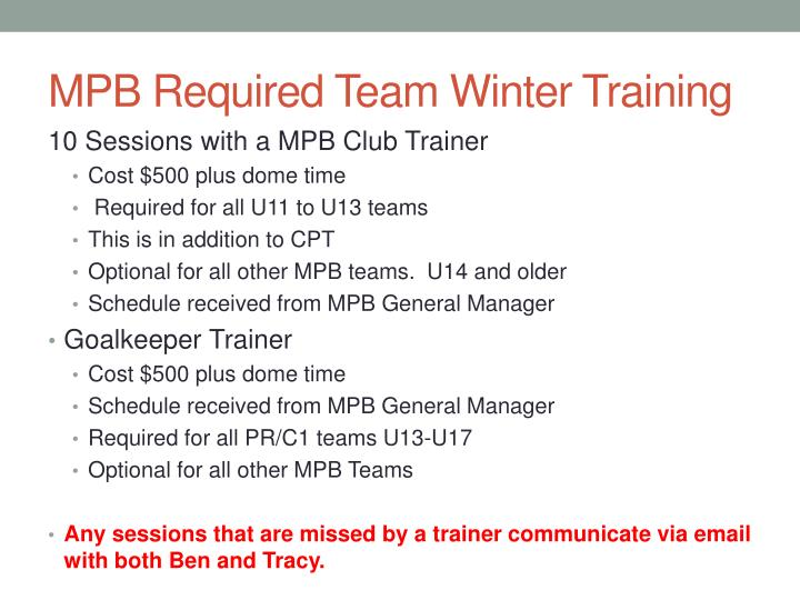 MPB Required Team Winter