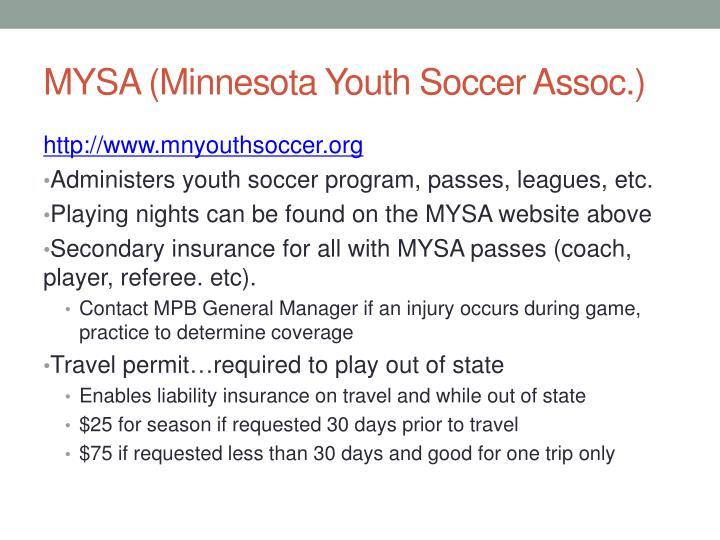 MYSA (Minnesota Youth Soccer Assoc.)