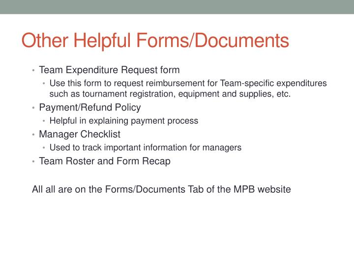 Other Helpful Forms/Documents