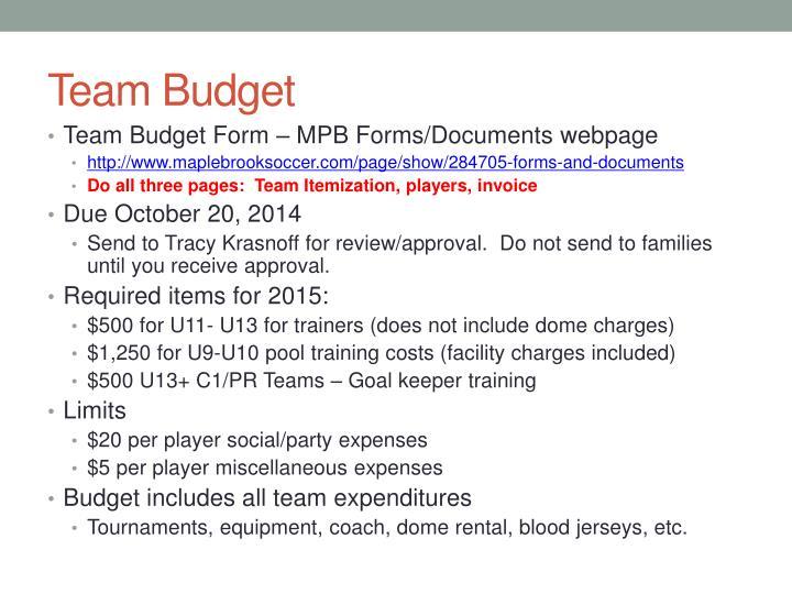Team Budget