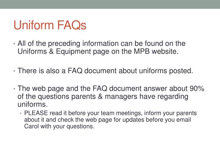Uniform FAQs