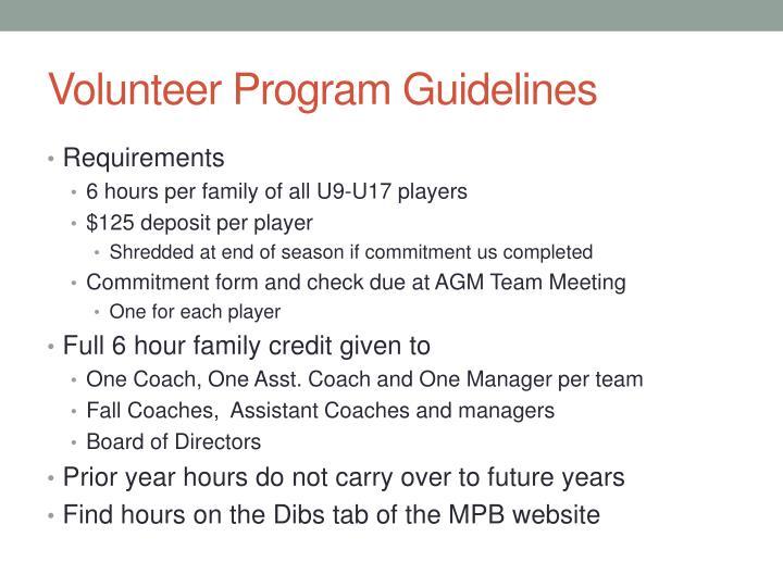 Volunteer Program Guidelines